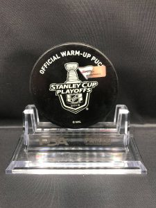 "2019 San Jose Sharks vs Colorado Avalanche SC Playoff used Warm Up Puck. Game 5. Fanatics AA0060312 Obtained from team. ""Stand not included"""