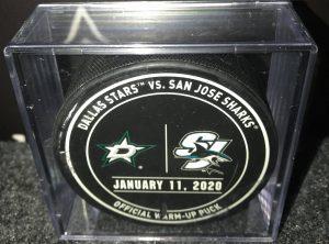 2020 San Jose Sharks vs Dallas Stars used Warm up puck.