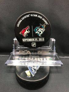 "2015 San Jose Sharks vs Arizona Coyotes . San Jose Sharks 25th Anniversary Preseason Used Warm up puck. ""Rare"" Arizona Coyotes."