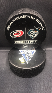 2015 San Jose Sharks vs Carolina Hurricanes Used Warm Up Puck. October 24 2015.