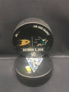 2016 San Jose Sharks vs Anaheim Ducks Used Warm Up Puck. October 5 2016