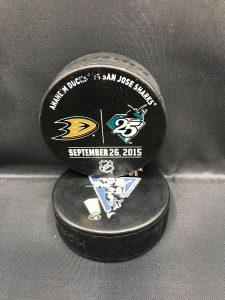 2015 San Jose Sharks vs Anaheim Ducks September 26 2015 Used Warm up puck.