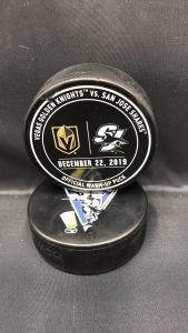 2019 San Jose Sharks vs Vegas Golden Knights Used Official Warm Up Puck. December 22 2019.