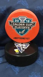 2018 San Jose Barracuda Calder Cup Playoffs official puck. #notdoneyet