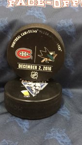 2016 San Jose Sharks vs Montreal Canadiens Official Used Warm up puck. December 2 2016.
