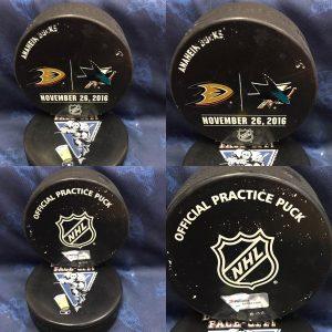 2016 San Jose Sharks vs Anaheim Ducks Official used Warm Up Puck. November 26 2016 #AA0022245