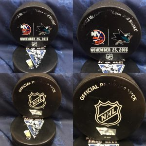 2016 San Jose Sharks vs New York Islanders Official used Warm Up Puck. November 25 2016 #AA0022225