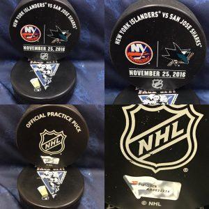 2016 San Jose Sharks vs New York Islanders Official used Warm Up Puck. November 25 2016 #AA0022223