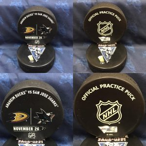 2016 San Jose Sharks vs Anaheim Ducks Official used Warm Up Puck. November 26 2016 #AA00227