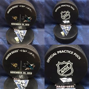 2016 San Jose Sharks vs Anaheim Ducks Official Used Warm Up Puck. November 26 2016  #AA0022249