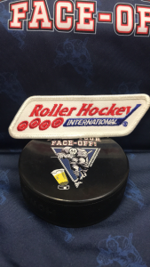 """RHI Roller Hockey patch.  4""""x 1.5""""  Obtained from the RHI Team Sacramento River Rats."""