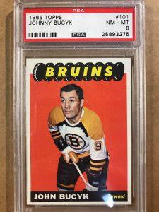 1965 Topps Hockey card.  #101 Johnny Bucyk.  PSA Graded NM-MT.  PSA # 25893275.