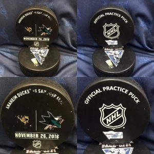 2016 San Jose Sharks vs Anaheim Ducks Official Used Warm Up Puck. #AA0022249  11-26-2016.