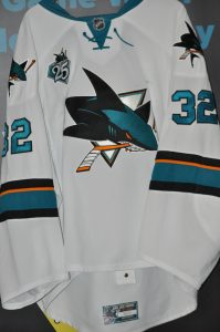 "2013 San Jose Sharks Alex Stalock Game Worn Rookie jersey with 25 year patch ""RARE"""