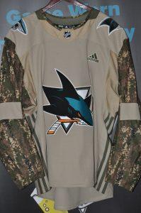2018-19 San Jose Sharks Military Night Team Issued Jersey. Vincent Praplan #41