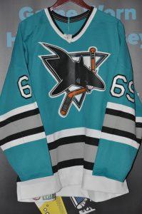 San Jose Sharks Bingham Teal preseason jersey.  #69  CCM Ultrafil  Screened on nameplate.  Preseason Sharks jersey.