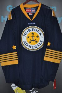 "ECHL Norfolk Admirals Authentic jersey. ""Not Game Worn""  CCM  Blue  XL  Obtained from team store. Brand New Never worn."