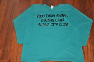 China Sharks Team Teal Training camp jerseys. Obtained from team. Light weight material.