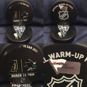 2019 San Jose Sharks vs Las Vegas Golden Knights official used warm Up Puck. #AA0026435. March 19 2019.