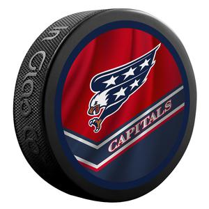 2021 Washington Capitals 2 Sided Official Retro Jersey puck.