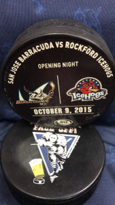 2015 AHL San Jose Barracuda vs Rockford Ice Hogs Official used warm up/practice puck. Used opening night of the San Jose Barracuda AHL hockey season.