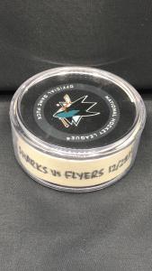 2019 San Jose Sharks vs Philadelphia Flyers 12-28-19 1st period game used puck. #AA0024290