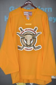 ECHL San Francisco Bull Team issued Gold practice jersey.  CCM Size 56.  Obtained from team.