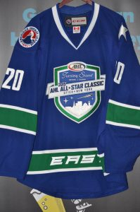 2014-2015 Matt Taorminca AHL All-Star Game Worn-Warm-Up jersey. CCM size 56. Autographed on number.