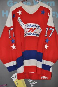 CHL Lethbridge Hurricanes.  #17 Mark Smith.  Size 52.  Red CCM Ultrafil.  Autographed on number 17.