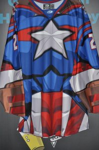 2017-18 ECHL Allen Americans. #23 Alex Schoenborn. Marvel Captain America Jersey. OT size 56. Obtained from MeiGray Group.