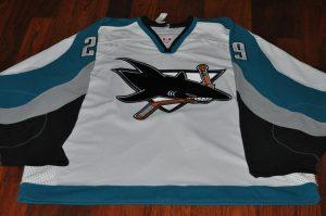 2003-04 San Jose Sharks #29 Jessie Fibiger. CCM White. Size 56 Obtained from team.