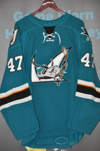 2015-16 AHL San Jose Barracudas. #47 Joakim Ryan. CCM Teal Size 56. Team repairs. Obtained from team.