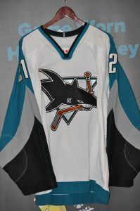 2003-04 San Jose Sharks.  #21 Jim Fahey.  Set 2.  White road CCM.  Size 52.  Obtained from team.