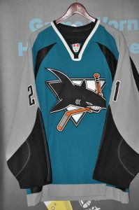 2003-04 San Jose Sharks.  #21 Jim Fahey.  Teal Koho.  Size 52.  Playoff Set.  Obtained from team.