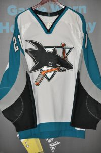 2002-03 San Jose Sharks.  #21 Jim Fahey.  Set 1.  CCM White.  Size 52.  Obtained from team.