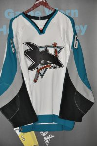 2003-04 San Jose Sharks. #21 Jim Fahey. Teal Koho. Size 52. Playoff Set. Obtained from team.