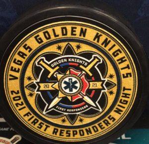 "2021 Vegas Golden Knights First Responders Night Official 3-D Souvenir Puck. Vegas Golden Knights had a First Responders night tribute on March 31 2021. ""Not Game used"""