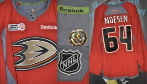 "Anaheim Ducks . #64Stefan Noesen. Reebox. Special Olympics Used Warm up jersey. Anaheim Ducks tagging in collar. ""8436"""